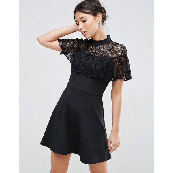 ASOS High Neck Dress with Lace Frill Detail ($56) ❤ liked on Polyvore featuring dresses, black, high neck cocktail dress, lace ruffle dress, high neck lace dress, frilly dresses and zipper dress