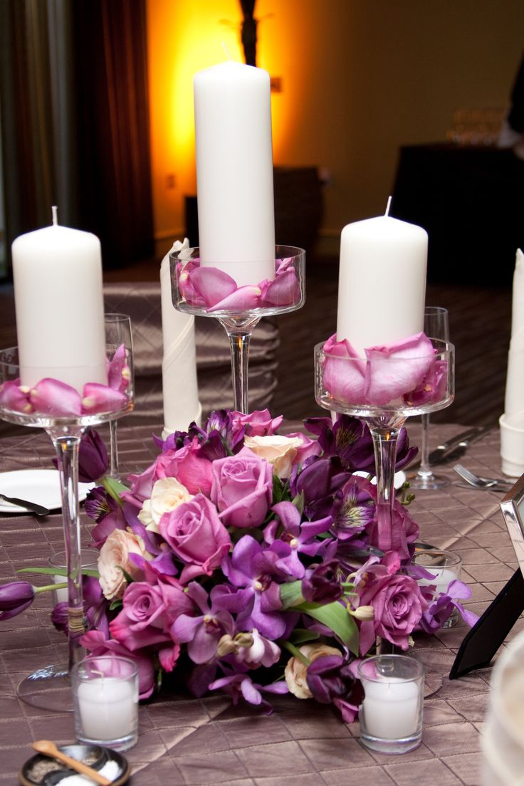 diy beach theme wedding centerpieces%0A Purple Rose  u     Candle Wedding Centerpiece by Blume Events www idoaz com
