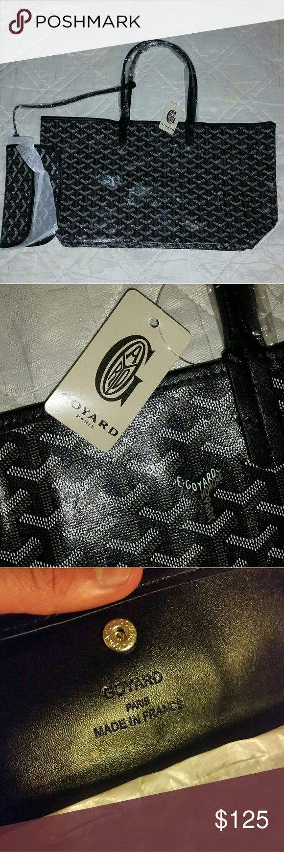 Tote bag and wallet Looks amazing. Plz do not be silly with the questions. Price says it all. Bag come with original packaging, dustbag, and tag. The logo and leather are on point. ~Measurements : 18 x 18 inches (the straps are 8 inches long while bag itself is 10 inches long) Goyard Bags Totes