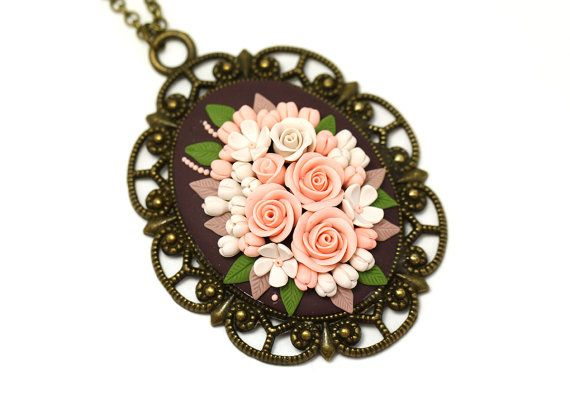 Floral Pendant Necklace Roses  Floral jewelry  by KittenUmka