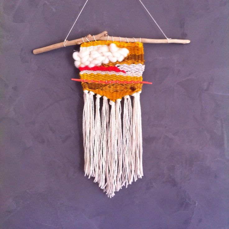 Weavin in mustard and coral shades ... Coloured wallhanging for home decoration