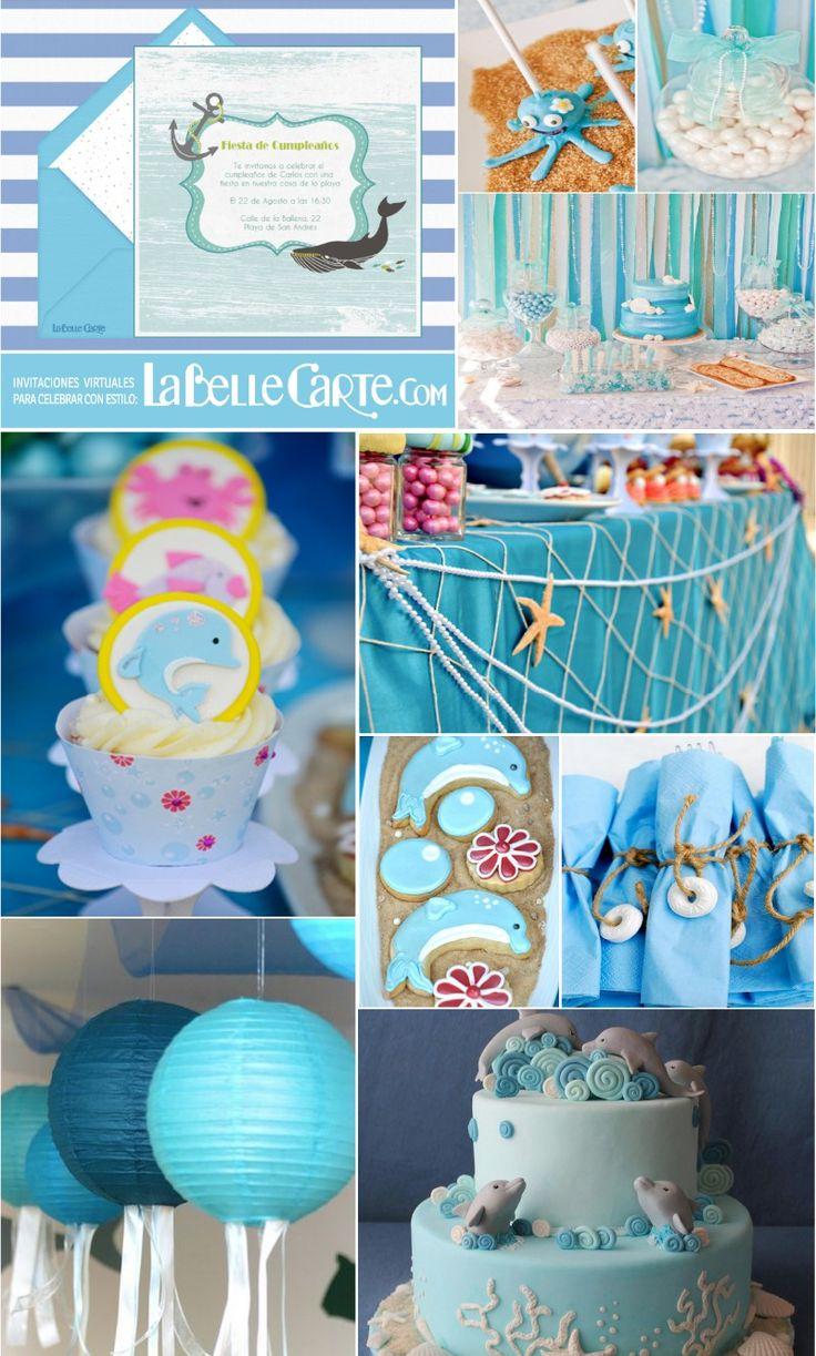 Invitaciones Infantiles, Invitaciones para fiestas Infantiles, Cumpleanos de delfines, Fiesta de delfines