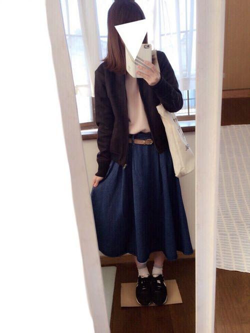 GUのデニムスカートめちゃ可愛い\ ( ˆ ˆ ) / 最近暖かくていい感じですね 早く春になれーっ