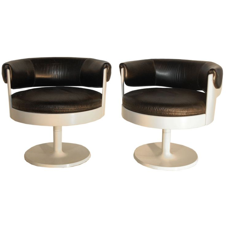 "Eero Aarnio; Black Leather 'Fiesta"" Chairs for Fontassino, 1960s."
