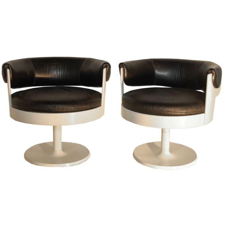 "Eero Aarnio; Black Leather 'Fiesta"" Chairs for Fontassino, 1960s."