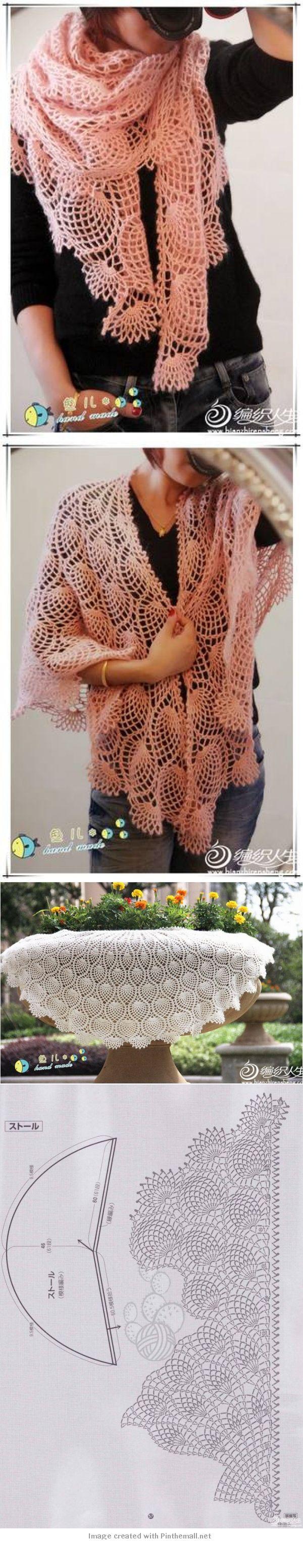 gorgeous lacy pineapple shawl including graph!!! ༺✿ƬⱤღ  http://www.pinterest.com/teretegui/✿༻