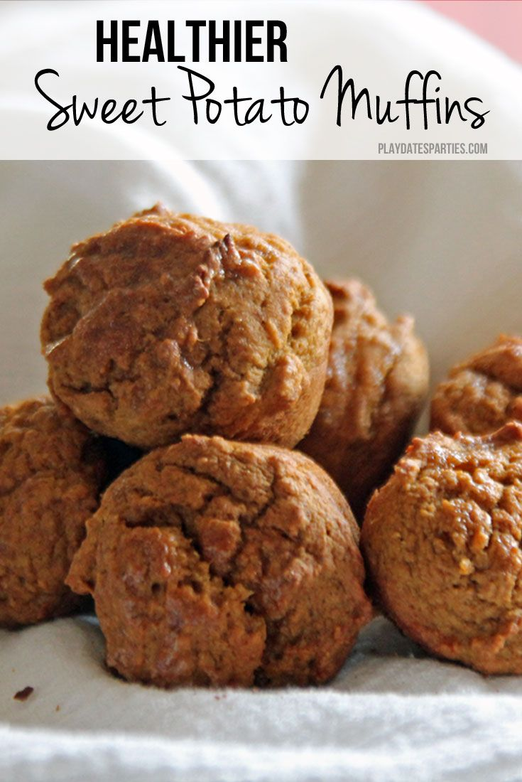 Sneak some extra nutrition and fiber into your kids' diets with this delicious - and easy- healthy sweet potato muffin recipe. http://playdatesparties.com/2013/12/recipes-sweet-potato-muffins-via-holly.html