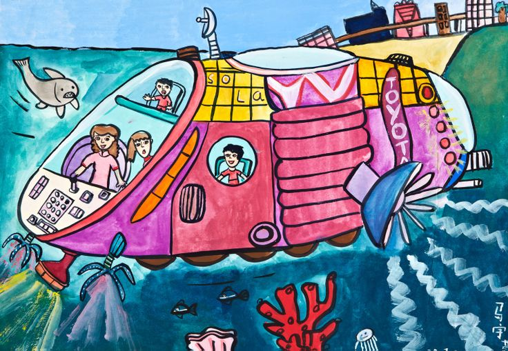'Boat Car' by Beh Yu Xuan, Aged 9, Malaysia: 1st Contest, Silver #KidsArt #ToyotaDreamCar