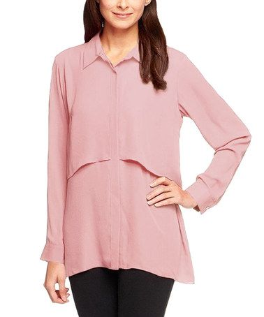 This Blush Layered Button-Up - Plus Too is perfect! #zulilyfinds