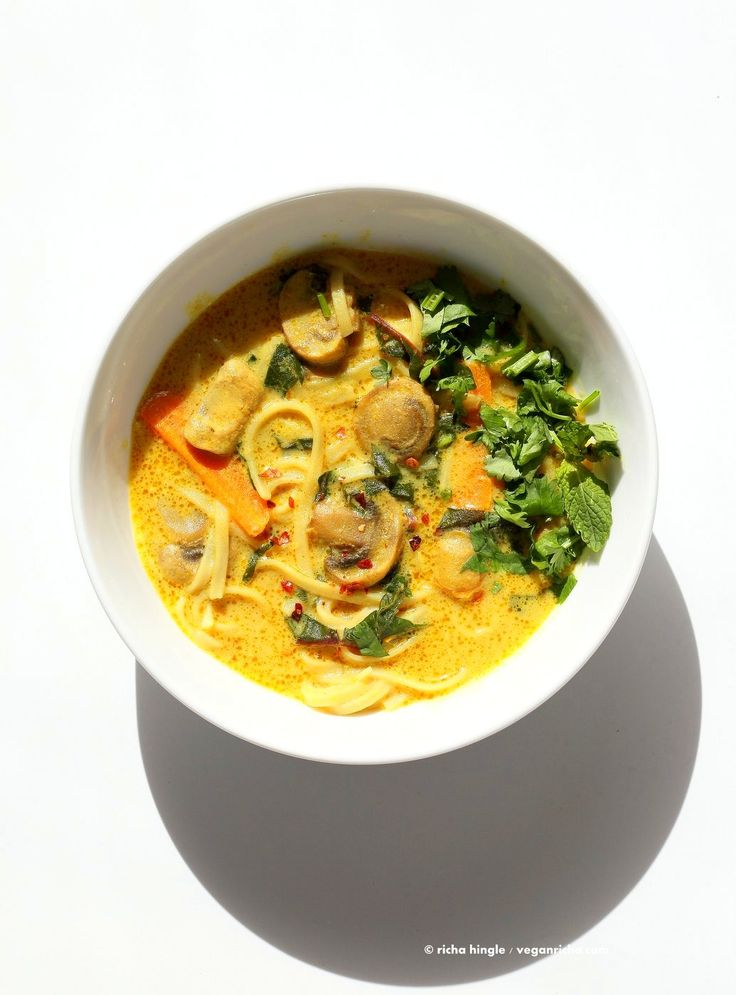 Vegan Laksa - Malaysian Curry Laksa Soup Recipe with homemade Laksa paste. Warming, spicy, flavorful soup for fall and winter. Vegan Gluten-free Soy-free Recipe | VeganRicha.com