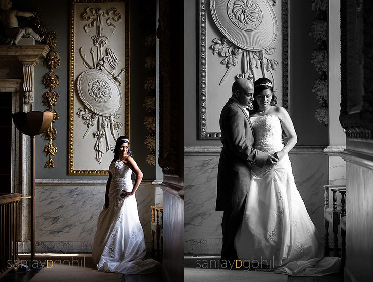 Bride and Groom portraits in Moor Park Mansion