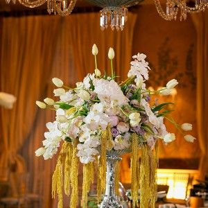 New Orleans Traditional Luxe Wedding I New Orleans Country Club I Oversized Orleans Silver Epergne Buffet Flower Arrangement - White French Tulips, White Phaleanopsis Orchids, Gold Hanging Amaranthus, Rose, Hydrangea  I Design, Florals, and Decor by Urban Earth Design Studios I Wedding Planning by Pat Denechaud of Crescent City Consultants I Photos by Paul MorsePhotos by Paul Morse