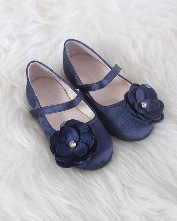 Girls Infant shoes NAVY Satin Maryjane