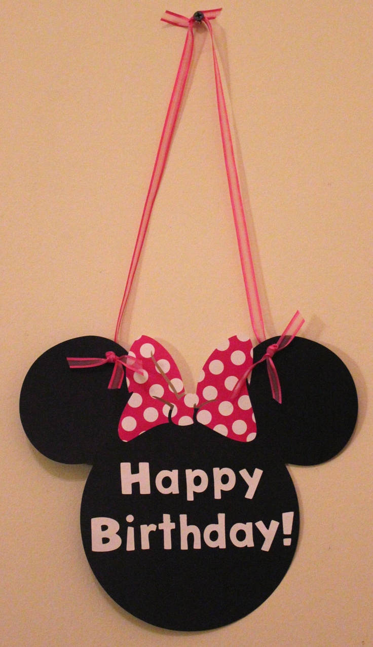 Simple MINNIE MOUSE Door Sign - Welcome Sign - Mickey Mouse - Birthday Party - Pink polka dots - Red - Custom Made. $6.50, via Etsy.
