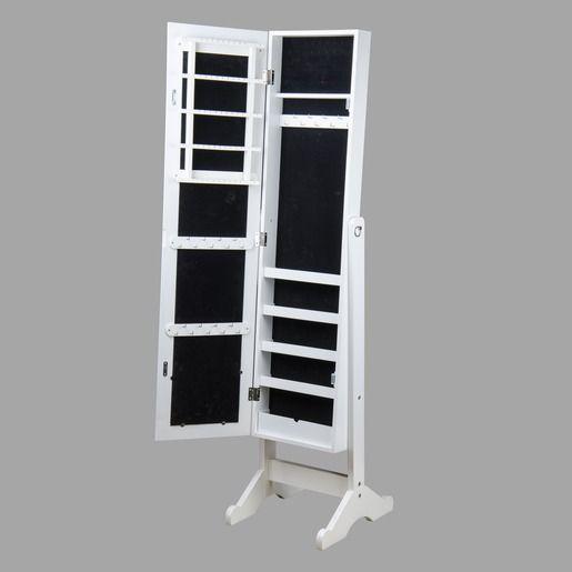 Miroir psych avec rangement pour bijoux 40 x 30 x h 145 cm blanc noir - Psyche armoire a bijoux ...