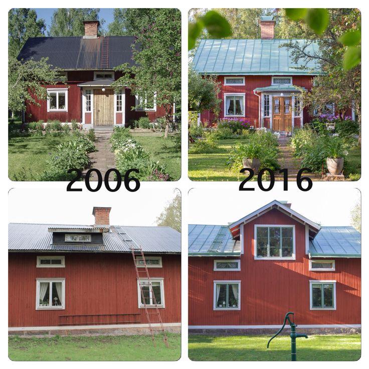Huset byggdes år 1911. När vi flyttade in 2006 var det ganska förändrat. Taket, fönstren, dörren och takkupan var i stort behov av restaurering! En del bytte vi ut, en del lagades och sparades. Tio år senare har huset återfått stora delar av sitt ursprungliga jag! #byggnadsvård #gamla #hus #rödfärg #linoljefärg #plåttak #veranda #pardörrar #snickarglädje
