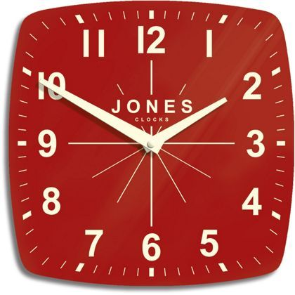 Jones Boxy Red Wall Clock At Homebase Red Clocks From