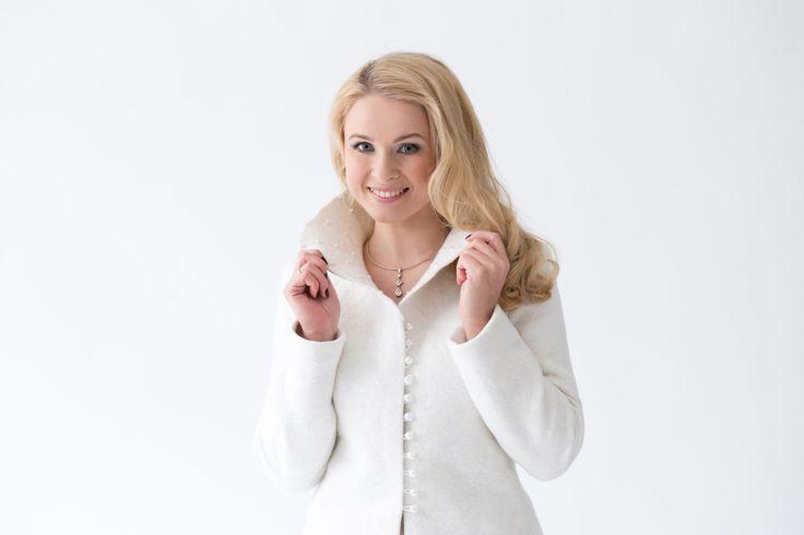 Snow queen bridal Jacket | White Elegant Bridal Felted Jacket for Women | white jacket | handmade wool jacket | winter wedding by DressInFelt on Etsy https://www.etsy.com/listing/265475570/snow-queen-bridal-jacket-white-elegant