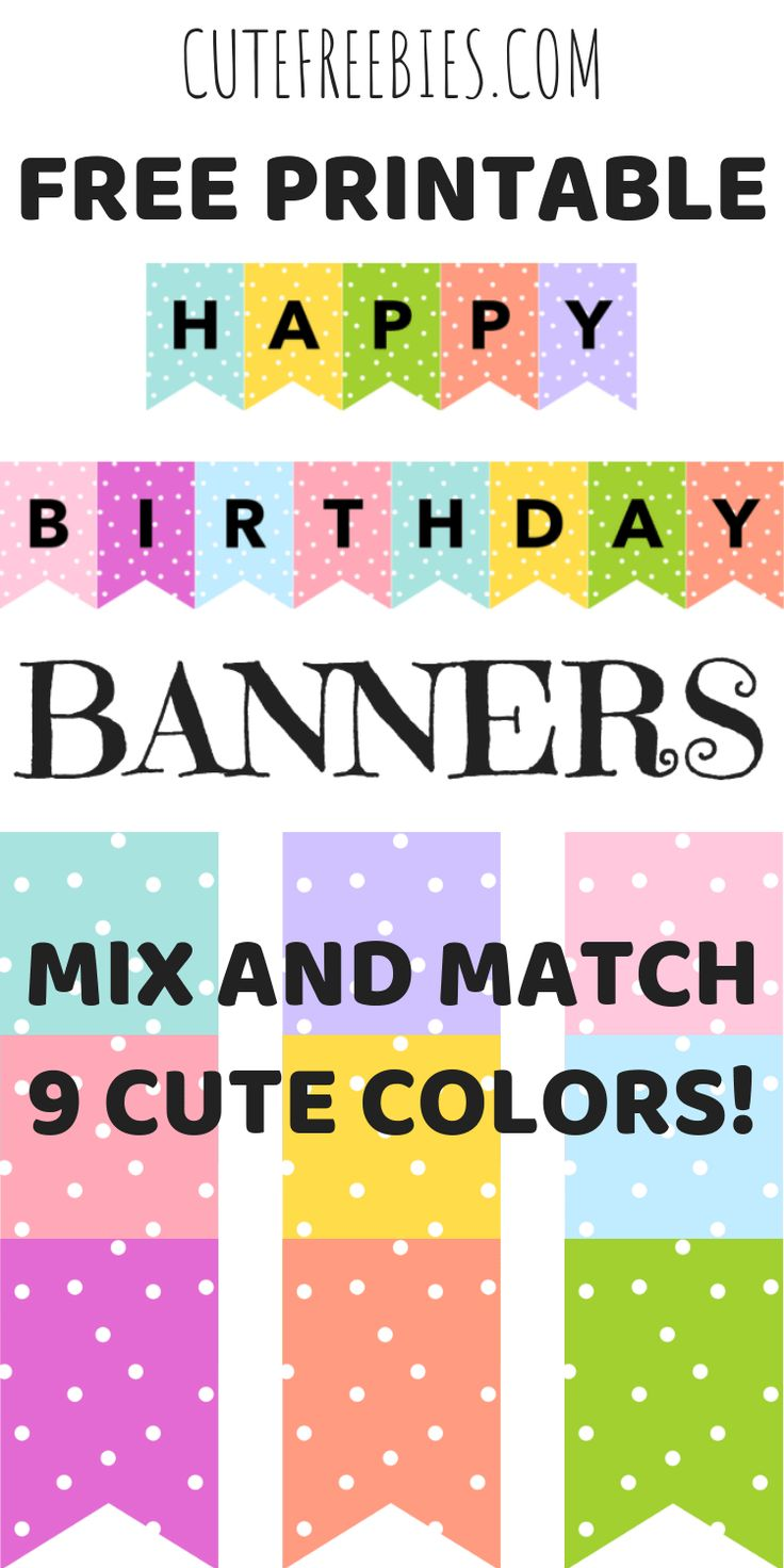 Happy Birthday Banners / Buntings - Free Printable | Happy ...