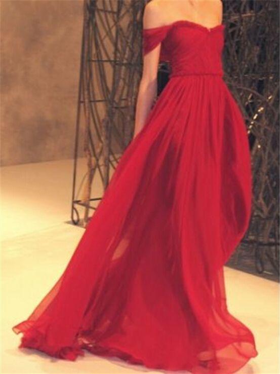Очаровательная выкл-плечу красный пром платья 2015 халат де вечер V шеи со складками шифон пляж длинные платья вечерние дешевые