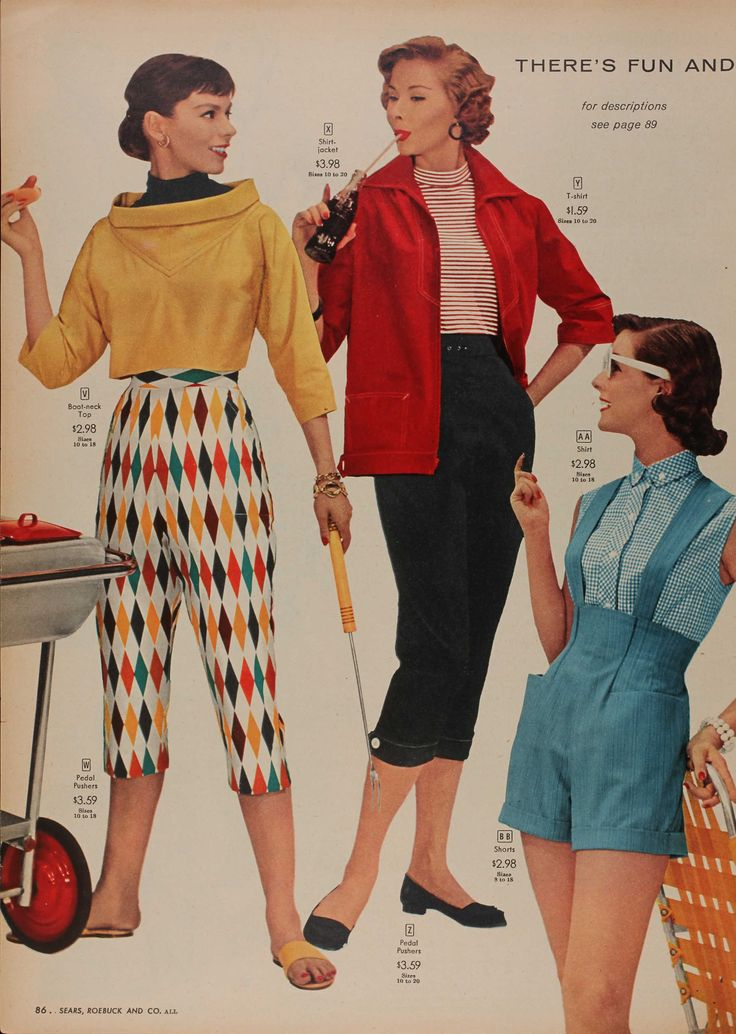 Spring 1956 Sears & Roebuck: Capri Pants, 1950S Fashion Casual, Fashion 1950S, Shorts 1950S, Seared Catalog, 1950 S Seared, 1950 Shorts, 1950 S Fashion, 1950S Trousers