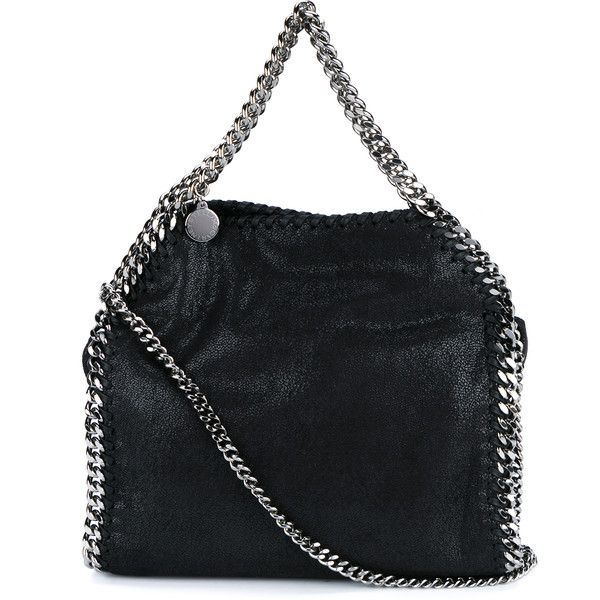 STELLA MCCARTNEY Falabella Chain Bag (5.480 VEF) ❤ liked on Polyvore featuring bags, handbags, chain handbags, stella mccartney purses, pocket purse, black handbags and pocket bag