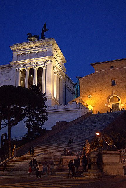 "The steps to the Campidoglio, ""altare della Patria"" on the left - piazza Venezia."