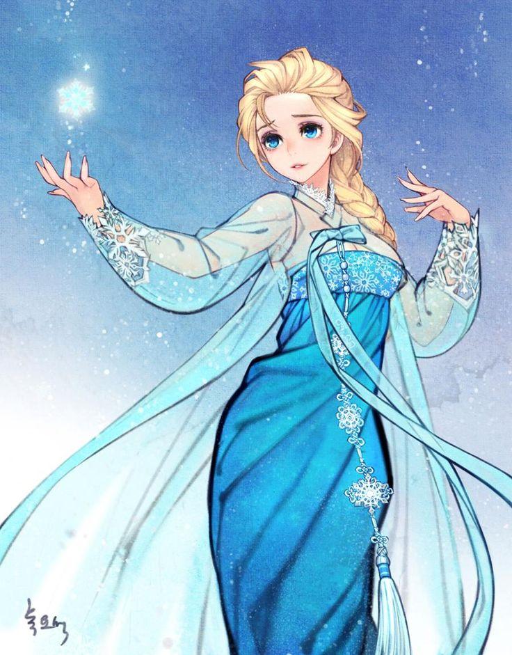 """Elsa (from animation """"Frozen"""") in Hanbok by twitter: @ 00obsidian00"""