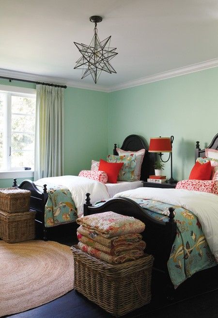 green red black twin beds Wall Colors, Colors Combos, Lights Fixtures, Guest Bedrooms, Light Fixtures, Kids Room, Girls Room, Twin Beds, Guest Rooms