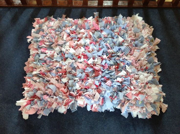 Rag rug.  Made by my 9 year old daughter for her  WWII Make do and Mend homework.