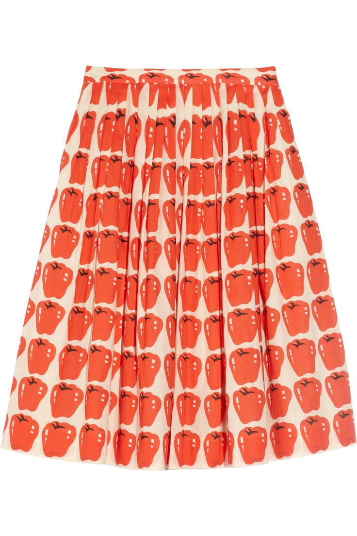 /// J.Crew | Apple-print pleated cotton skirt