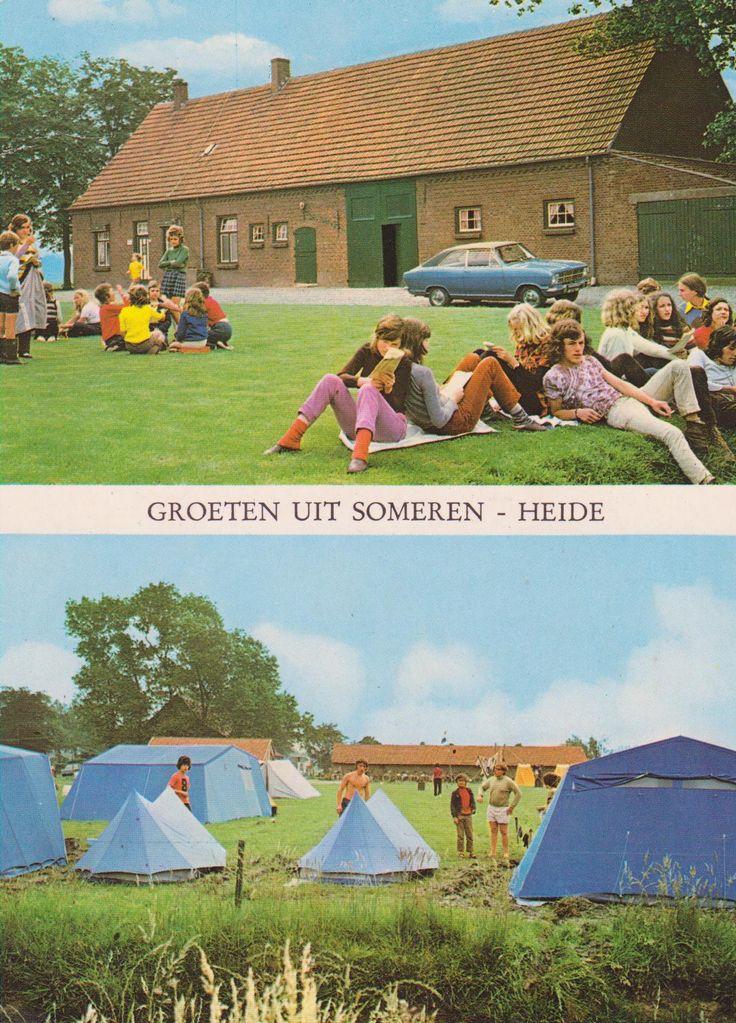 Kampeer en bivak boerderij eind jaren 60 P. Greymans Someren-Heide, schoolkinderen uit Limburg bivakeren (Heerlen)