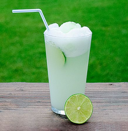 Lime sherbet and ginger ale float...so refreshing on a hot summer day.