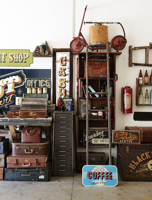 Melbourne-based sign painter TJ Guzzardi's workshop. Photo by Eve Wilson for thedesignfiles.net