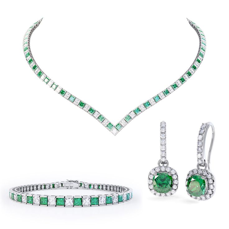 Princess Emerald and White Sapphire Platinum plated Silver Jewellery Set