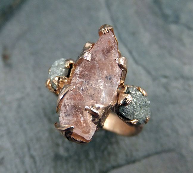 Raw Morganite Diamond Rose Gold Engagement Ring by byAngeline, $2,200.00