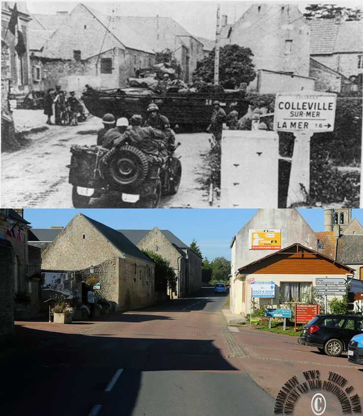 Then and now... Colleville-sur-Mer (© Normandy WW2 Then & Now)