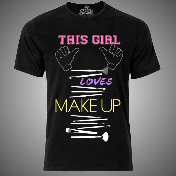 "Modelo ""this girl loves makeup black"" mujer estilista moda playera female stylist hairdresser fashion t-shirt"