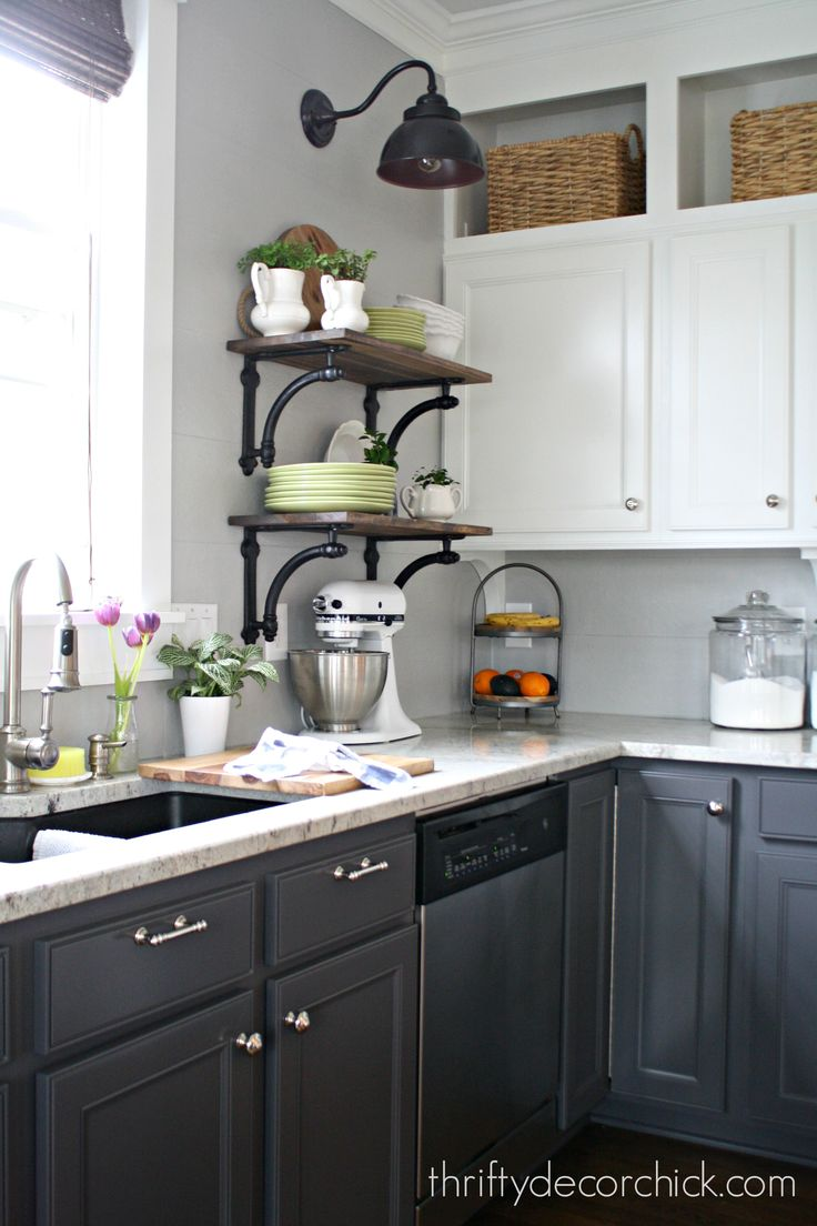 Two-toned kitchen with Peppercorn lowers and Pure White uppers (by Sherwin Williams)