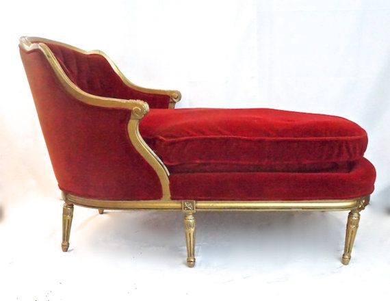 red velvet and gold french chase lounge by on etsy