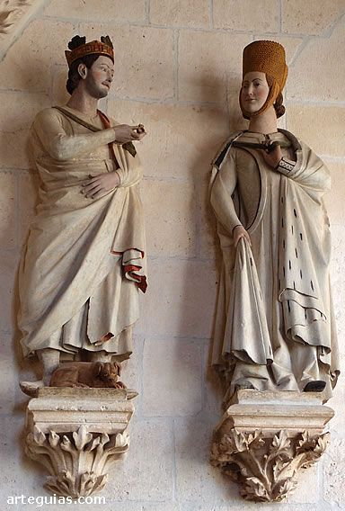 Statues possibly representing King Alfonso X and his mother Doña Violante de Aragón. 1260-70, Gothic Spanish Sculptor, Stone, Cloister of the Cathedral, Burgos. Look at the cyclas/surcoat – cut in much narrower than we are used to in the 13th century.