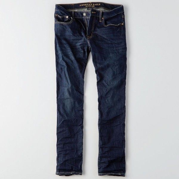 AE Extreme Flex Slim Straight Jean ($40) ❤ liked on Polyvore featuring men's fashion, men's clothing, men's jeans, blue, mens stretchy jeans, mens blue jeans, mens straight jeans, mens slim jeans and mens slim fit stretch jeans