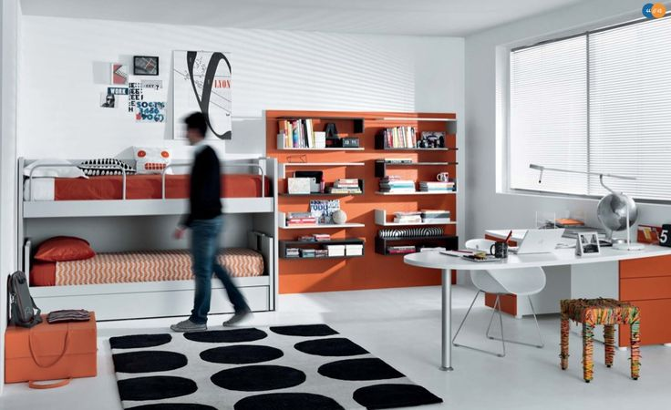 Sweet Girl Bedroom Design Ideas: Orange Black White Contemporary Teenagers Room ~ Teens Bedroom Inspiration