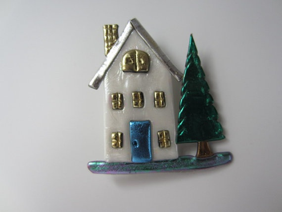 House with blue door pin brooch by Pinderella on Etsy, $11.95Blue Doors, Doors Pin, Pin Brooches