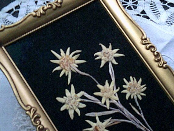 33.90 kr. Felt Flower Frame Art Vintage Gold Frame by SweetAngelVintage