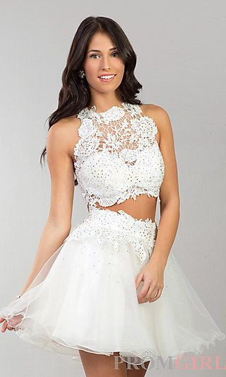 Short Two Piece Lace Dress by Dave and Johnny at PromGirl.com