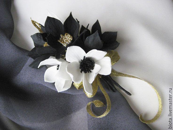 Черный цветок брошь из фоамирана мастер класс