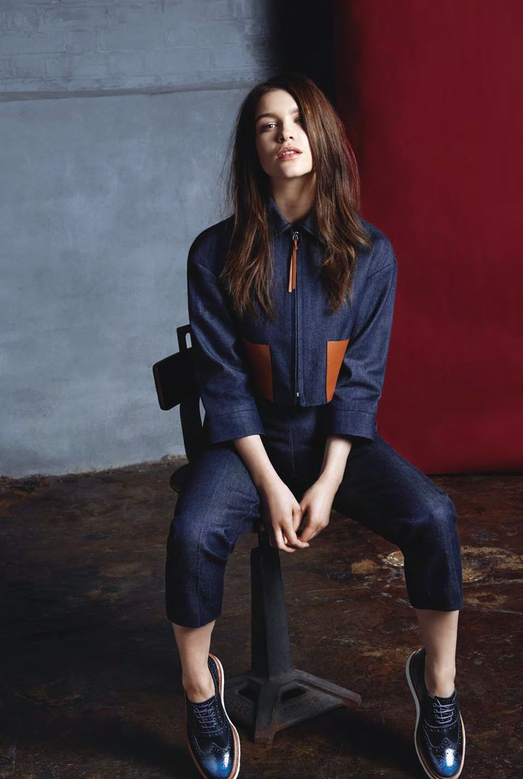 structured denim with colour blocks = drool 87 ˚F Sophie Cookson by Sevda Albers for InStyle UK February 2015