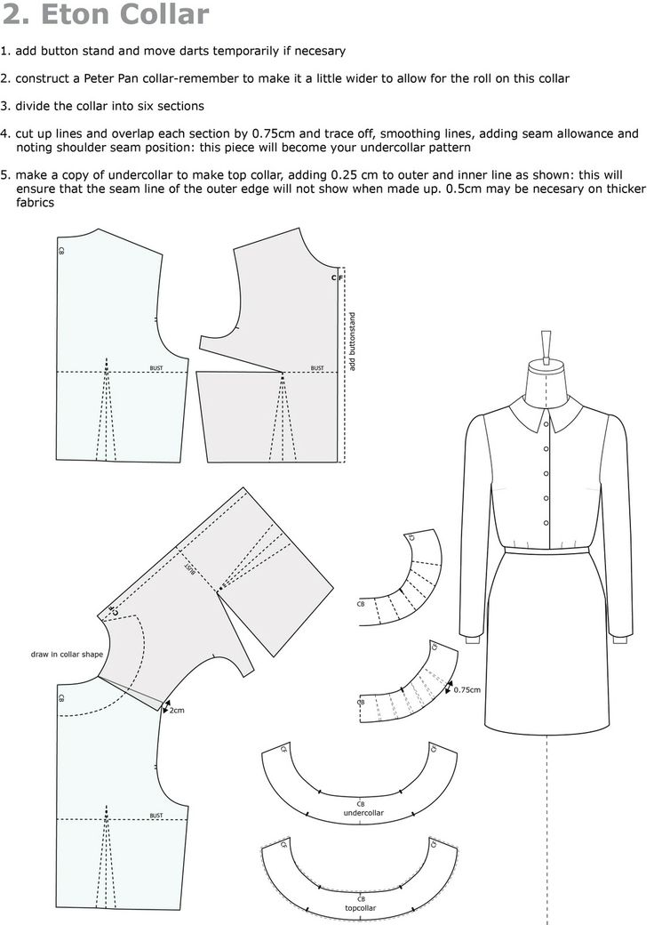 Pattern Cutting: Collar drafting - overlap front and back bodice pieces' shoulder seams 2cm at armcye, then draw collar line