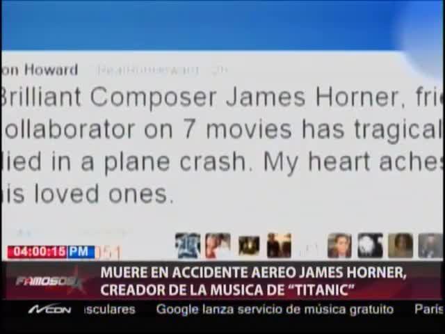 Fallece En Accidente Aéreo Creador De La Música De Titanic #Video